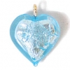 Glass Lamp Pendant Heart 13mm Aqua/Silver